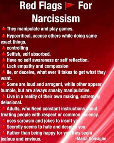 Red Flags 🎌 For Narcissism Narcissistic People, Narcissistic Mother, Narcissistic Behavior, Narcissistic Abuse Recovery, Narcissistic Personality Disorder, Narcissistic Sociopath, Relationship With A Narcissist, Toxic Relationships, Relationship Tips