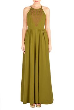 I <3 this Floral embellished cotton knit maxi dress from eShakti