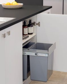Green compost bin on shelf Modern Kitchen Interiors, Diy Kitchen Storage, Kitchen Reno, Kitchen Ideas, Have You Ever, Suits You, Compost, Easy Diy, New Homes