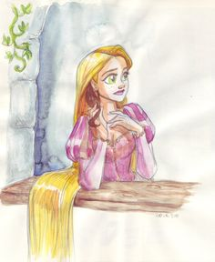 deviantart rapunzel | Rapunzel in tower by TaijaVigilia
