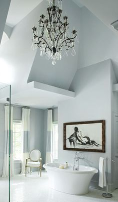 Asymmetrical bathroom in a cool blue @Sandra Vanderbeck Heyrich McLeod Home
