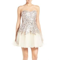 Junior Steppin Out Sequin Tulip Dress ($138) found on Polyvore featuring women's fashion, dresses, ivory, flare dress, sequin dress, white flared dress, white cocktail dresses and ivory dress