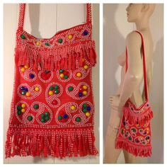 "Vintage 70s Beaded Paisley Fringe Purse Cute, soft muted red fabric bag with fringed detail and plastic beading. In great condition. A few of the fringe pieces are shorter, but this can not be seen unless you are looking for it. It measures 9.5"" by 14"" with a 14.5"" drop. Vintage Bags Shoulder Bags"