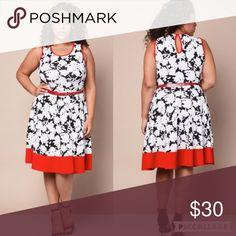 🆕Plus size belted floral dress Black, white, red contrast block floral dress Dresses Midi