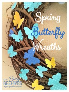 Butterfly wreaths for Spring using colorful card stock butterflies and a grapevine wreath.