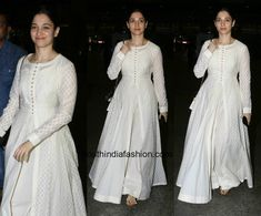 Tamanna Bhatia was spotted at the airport in a white anarkali.