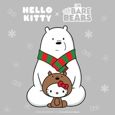 Hello Kitty x We Bare Bears We Are Bears, Hello Kitty Imagenes, Hello Kitty Art, Hello Kitty Christmas, Hello Sanrio, Bobtail Cat, Hello Kitty Pictures, Hello Kitty Wallpaper, Kawaii