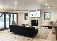 Emily Henderson Mountain House Family Room Update Log And Chair Text Overlay Facade House, House Facades, Furniture Update, Weekend House, Framed Tv, Living Room Sectional, White Sofas, Home Office, Family Room