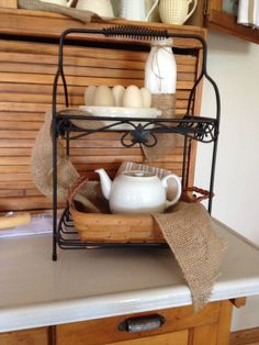Love this WI Longaberger 2-tiered stand with my white kitchen decor.