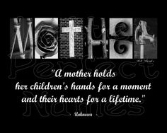 """000 - Alphabet Photo - MOTHER - Inspirational / Motivational Wall Art 8X10 Photograph Matted with Word / Letter Art Photography. • Let this fill your room with creativity and encouragement with its motivational / inspirational message of MOTHER. • This new one-of-a-kind Inspirational Letter Art / Word Art photograph spells the word MOTHER with a motivational / inspirational quote, """"A mother holds her children's hands for a moment and their hearts for a lifetime."""" Unknown, as pictured. •..."""