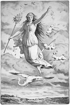 Eástre, the Saxon goddess of spring, bore an amazing similarity to the Norse-goddess Frigga. From her name the term Easter was derived, as it was customary to present multi-colored eggs, a symbol of life, in celebration of her festivities.