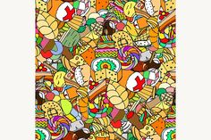 confectionery Graphics Seamless pattern. Set of confectionery. Vector illustration image1 - Files Vector (.eps)1 - File by Vector&VideoArtShop