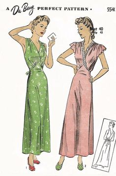 c1d3e2cf68e Vintage 1940 s Sewing Pattern Elegant Nightgown Shaped Nightgown Pattern