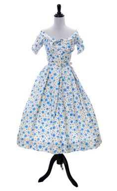 1950s vintage Mollie Parnis blue floral silk dress