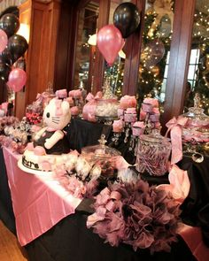 Hello Kitty Baby Shower Candy Buffet and Cake