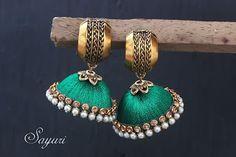 Silk thread jhumkas Silk Thread Jumkas, Silk Thread Earrings, Thread Jewellery, Metal Jewelry, Stylish Jewelry, Fashion Jewelry, Indian Accessories, Beaded Necklace Patterns, India Jewelry