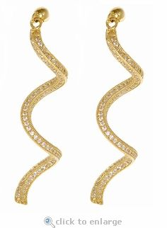 Ziamond Cubic Zirconia Drop Earrings in 14K Yellow Gold.  The Faviola Drops feature pave set round cubic zirconia in a beautiful curled design.  Ziamond features the finets hand cut and hand polished Russian formula cubic zirconia set in 14k gold, 18k gold and platinum mountings. $795 #ziamond #earrings #drops #jewelry #gold #diamond