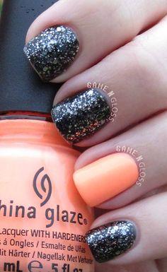 black and orange nails - facebook @ GAME N GLOSS