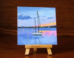 Reflections Sailboat Painting Small Painting 4 x by WoodArtBlocks