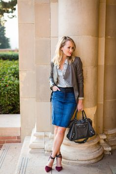 Daytime chicness on the blog. Click to shop Denim Skirt Outfit Summer, Denim Skirt Outfits, Denim Outfit, Denim Skirts, Moda Jeans, Cool Outfits, Casual Outfits, Pencil Skirt Work, Professional Outfits