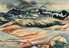 Great Nature, Storm on Mount Lyell from Johnson Peak by Chiura Obata / woodcut printer:Takamizawa (Yosemite series)