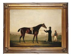 A Saddled Bay Racehorse held by a Trainer, with a Jockey by his side, the Chapel of King's College, Cambridge beyond by Daniel Clowes (1774-1829)