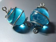 wire wrapped marbles for earrings, bracelet, and necklace set