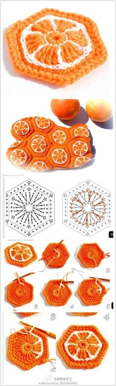 Super-fun Crochet Granny with oranges - Chart tutorial. for bags, coasters or afghans