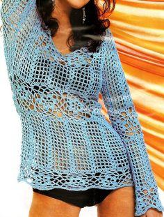 Patrones para crochet jersey manga corta patron ropa for Gancho de ropa en ingles