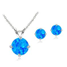 Sterling Silver Created Blue Opal Round Solitaire Necklace and Stud Earring Set ** Click image to review valentines gift ideas.