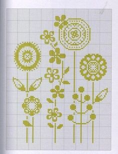 flowers - this would make a great baby blanket or wall hanging! Simple Cross Stitch, Modern Cross Stitch, Cross Stitch Flowers, Cross Stitch Charts, Cross Stitch Designs, Cross Stitch Patterns, Cross Stitching, Cross Stitch Embroidery, Embroidery Patterns