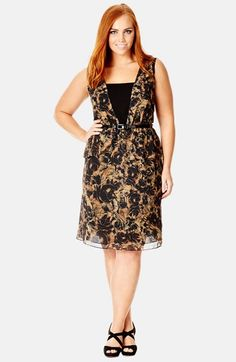 City Chic 'Romantic Layer' Belted Chiffon Dress (Plus Size) available at #Nordstrom