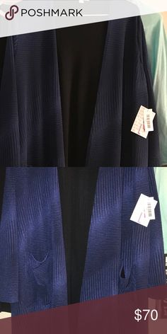 NWT L black lined blue Sarah NWT. Black lined. Stretchy. In between Navy and Royal blue!  Just came in today but was a wee bit snug on my arms. LuLaRoe Sweaters Cardigans