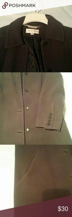 Womens winter coat, barely worn, beautiful lining Dark cadet blue long winter coat, Not a trench Albert Nipon  Jackets & Coats Trench Coats