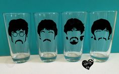 These glasses are a perfect gift for the Beatles fan in your life! Set of 4 glasses as seen in picture of your favorite Beatles members. John, Paul, George and Ringo.