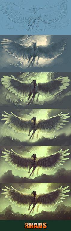 Process of Sky Horse by RHADS.deviantart.com on @deviantART