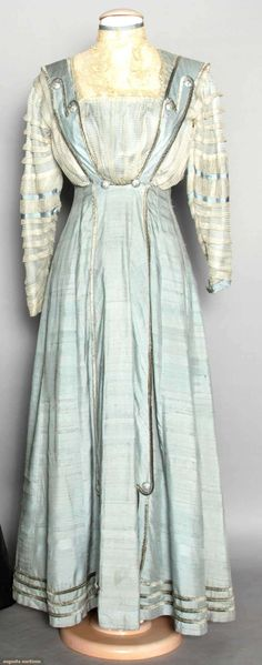 1910 blue silk & lace dress.
