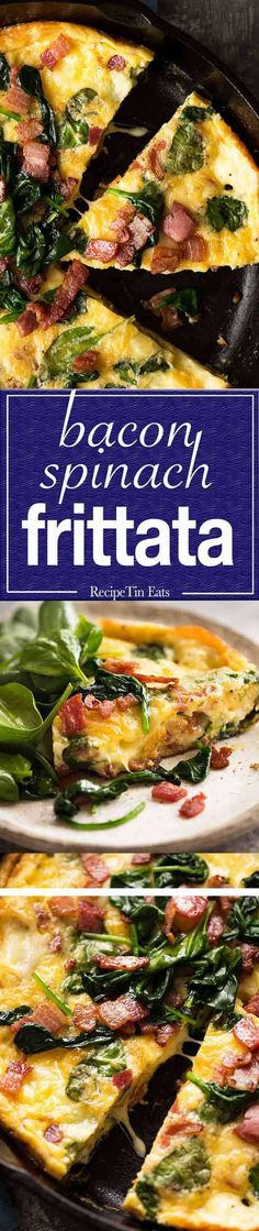 This is how to make a great frittata. Bacon/Cheese and Spinach or Use add ins of choice! Egg Recipes, Brunch Recipes, Cooking Recipes, Healthy Recipes, Brunch Ideas, Breakfast Dishes, Breakfast Time, Breakfast Recipes, Breakfast Ideas