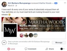 Fun Tuesday Appreciation Day Just want to thank this wonderful reader. Thank you so much for patronizing my books. See you on upcoming releases.  Love @MarthatWoodsPNR  #tuesday #reviews #marthawoods #fbreviews #paranormalromancereviews #bookseries