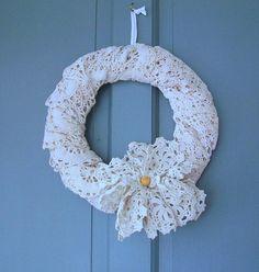 Ivory Vintage Lace Christmas Door Decor Wreath Large Floppy Lace Flower Vintage Button