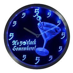 Stylish Blue Neon Cocktail Bar It's 5 O'Clock Somewhere Wall Clock