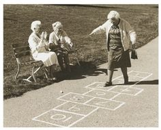 Growing Old Is Inevitable, Growing Up Is Optional - Funpicc (Hopscotch - I fell over, landed on Margie, killed my tooth and gave her a scar in her forehead. Father Time, Young At Heart, Jolie Photo, Inevitable, Aging Gracefully, Forever Young, Getting Old, Old Women, Alter