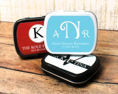 Monogram Personalized Wedding Mint Tins #favors #mintfavors #weddingideas