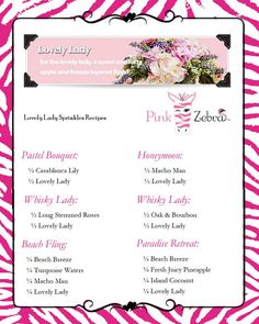 pink zebra recipe cards - Google Search                                                                                                                                                                                 More