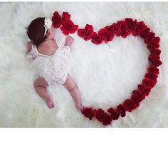 Your place to buy and sell all things handmade Monthly Baby Photos, Baby Girl Photos, Baby Pictures, Newborn Photography Poses, Baby Girl Photography, Newborn Christmas Photos, Newborn Photo Outfits, Valentines Day Baby, Lace Romper