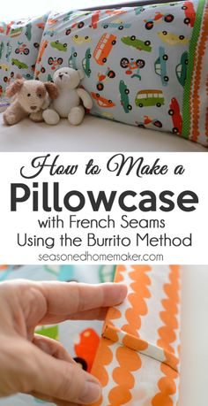 Pillowcase Tutorial: A pillowcase is one of the easiest projects to sew. My Burrito Method will make you an instant expert. Follow my simple Pillowcase Pattern and learn the Easiest Way to DIY | sewing