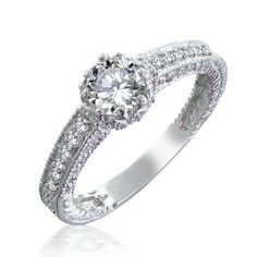 Bling Jewelry CZ Victorian Style Sterling Silver Engagement Ring Bling Jewelry. $44.99. Engagement ring. Weighs about 3.1 grams. Rhodium plated 925 sterling silver. 2mm band width. Cubic zirconia stones