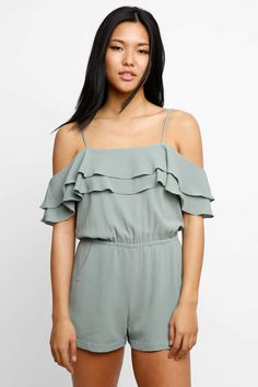 ON SALE Abbeline Ruffle Cold Shoulder Romper #affiliate