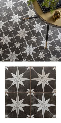 With their monochrome design, these Scintilla Night Pattern Tiles are perfect for creating a room-stealing statement floor in any room throughout the home. Their striking star-shaped design is highly sought after, and they have a slightly aged and antique Floor Patterns, Tile Patterns, Patterned Kitchen Tiles, Tiled Hallway, Outdoor Tiles, Vintage Tile, Bathroom Floor Tiles, Do It Yourself Home, Bathroom Interior Design