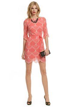 Pretty coral scalloped dress!
